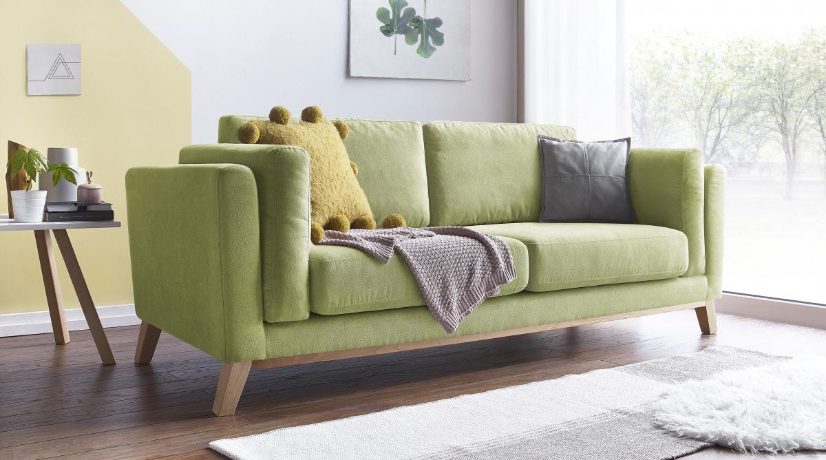 canapé vert amande bobochic décoration salon tendance couleur