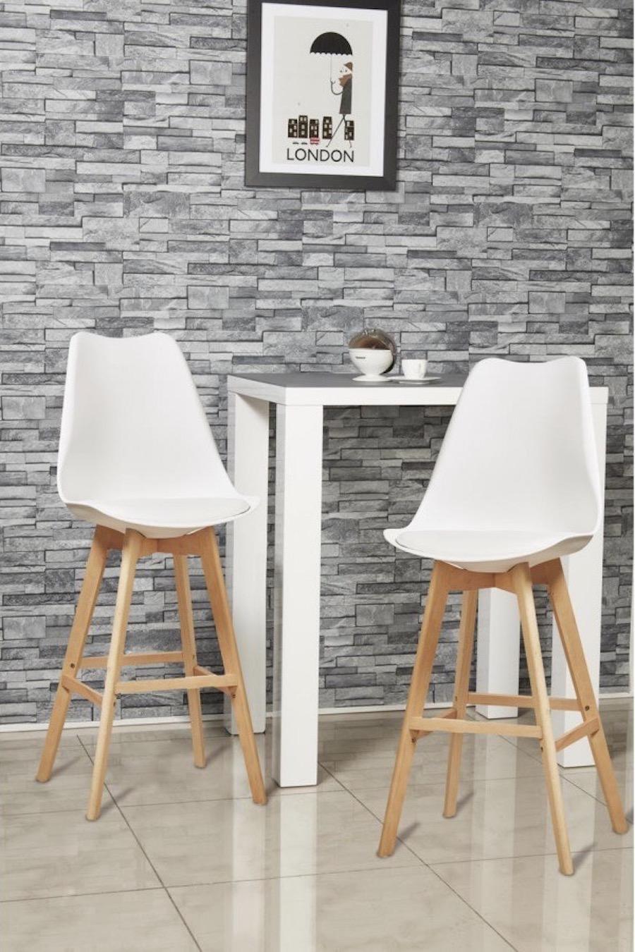chaise haute îlot central style scandinave eames coque plastique blanc pied bois