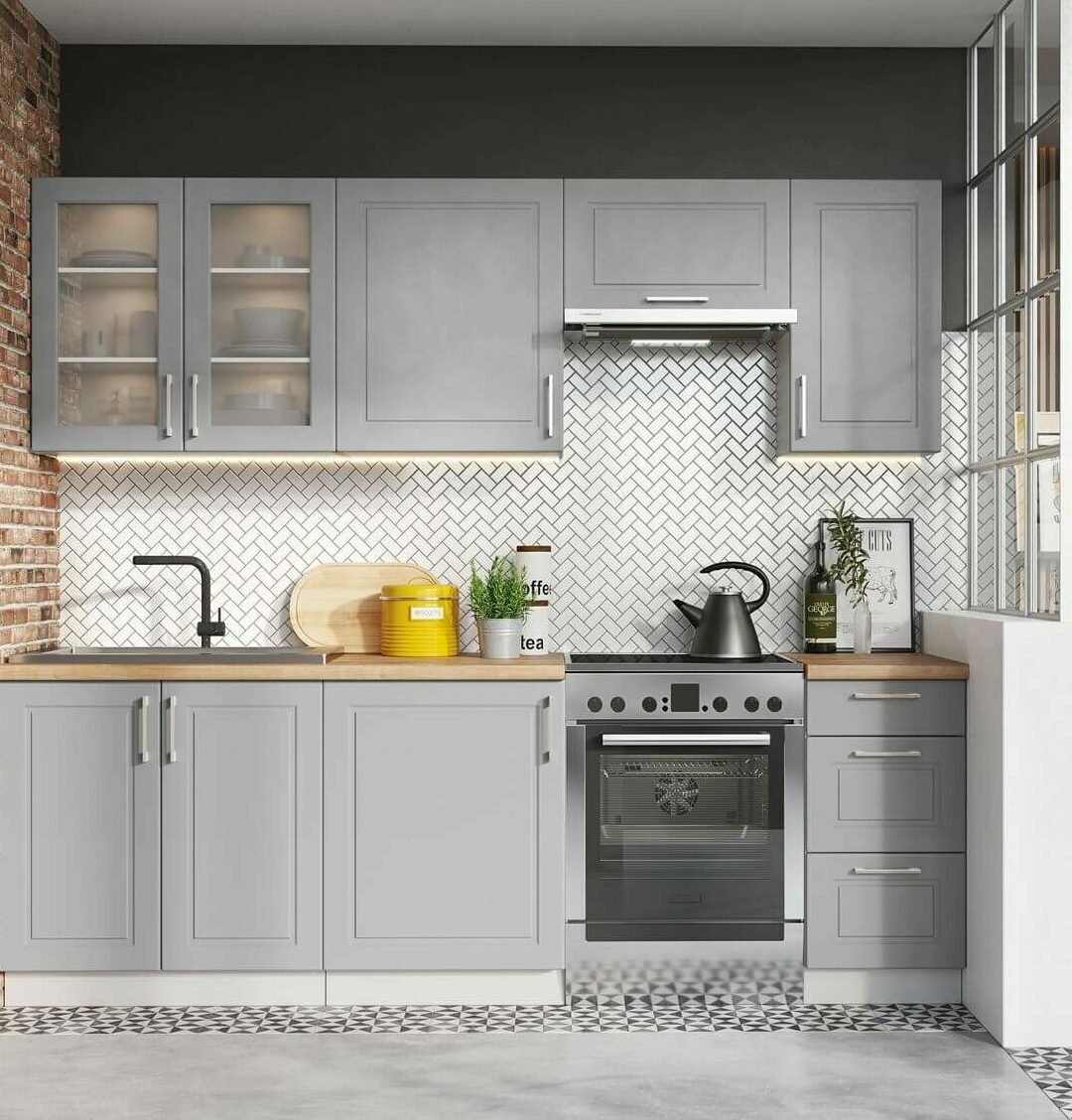 cuisine ouverte salon mur de briques grise béton cire carrelage zig zag - bobochic