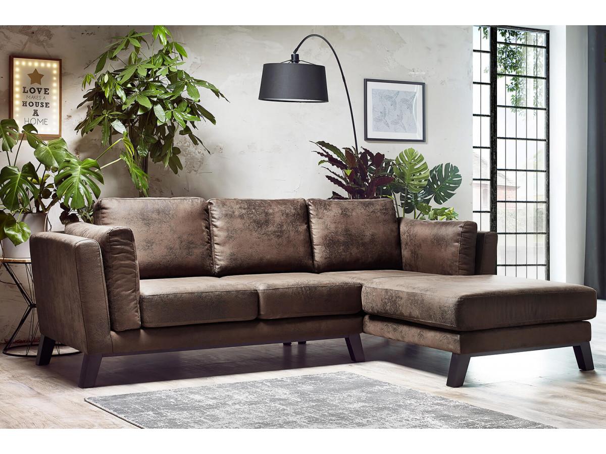 salon industriel canapé cuir vintage camel meuble métal verrière - Bobochic mobilier design français