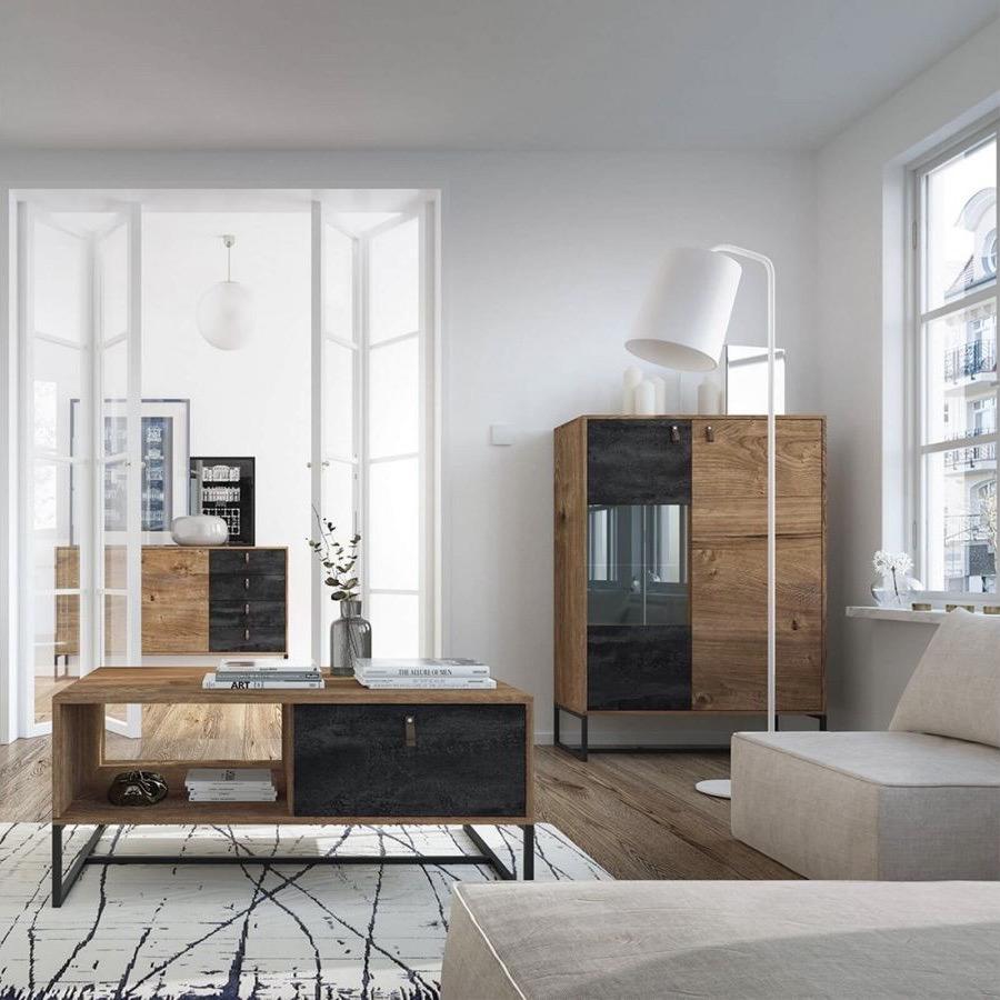 salon industriel moderne table basse style loft bois métal tiroir porte verrière blanche