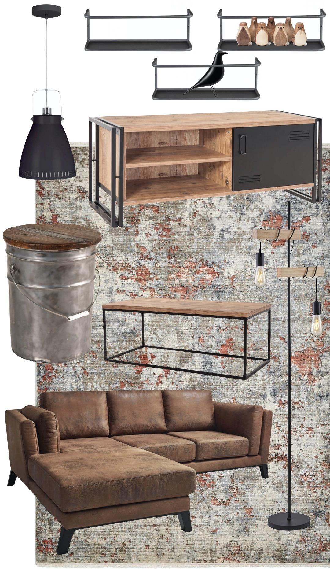 salon style loft atelier canapé cuir lampadaire métal bois