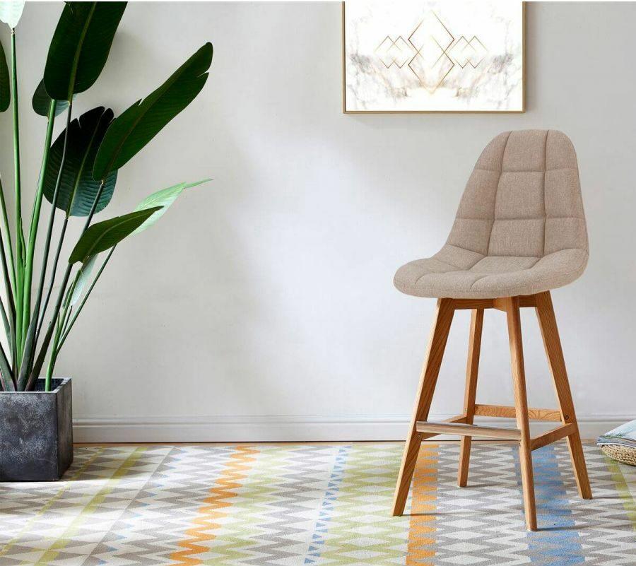 tabourets de bar confortables assise rembourrée molletonnée beige tissu design Bobochic