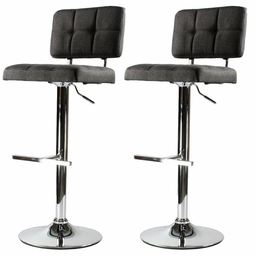 tabourets de bar confortables design moderne molletonné gris foncé hauteur ajustable noir style loft étudiant meuble bobochic