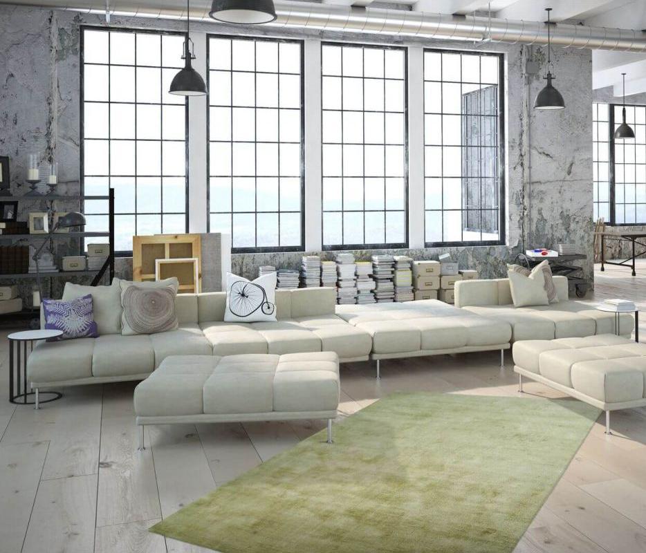 tapis vert amande deco loft industriel canapé design bobochic