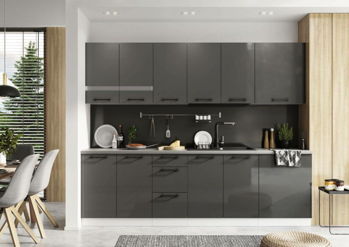 Cuisine noire ouverte salon style scandinave meuble moderne français Bobochic