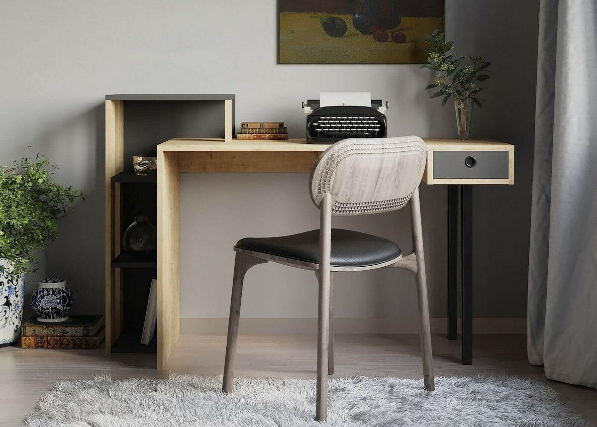 chambre grise espace de travail confortable petit rangement bureau astucieux design Bobochic