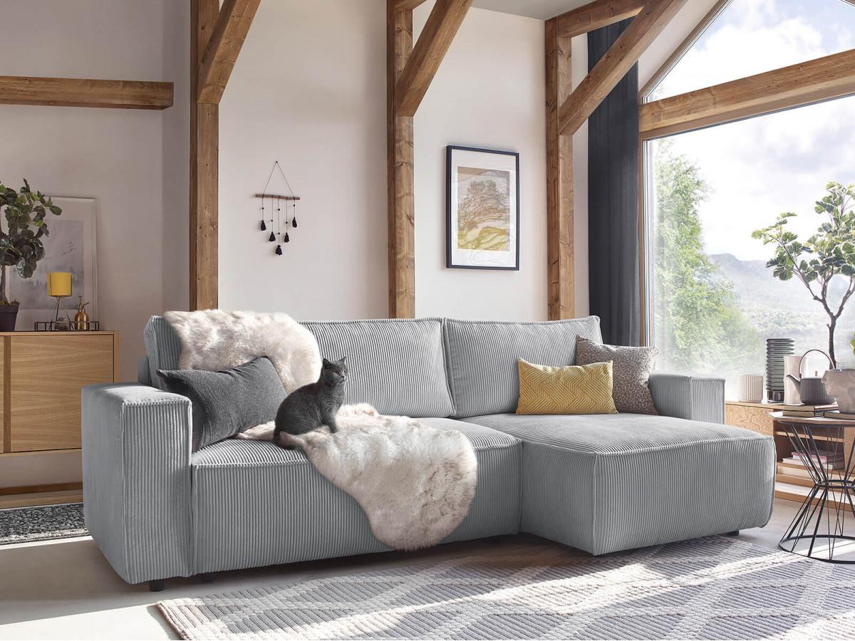 intérieur cosy hiver salon canapé velours côtelé lit convertible confortable gris