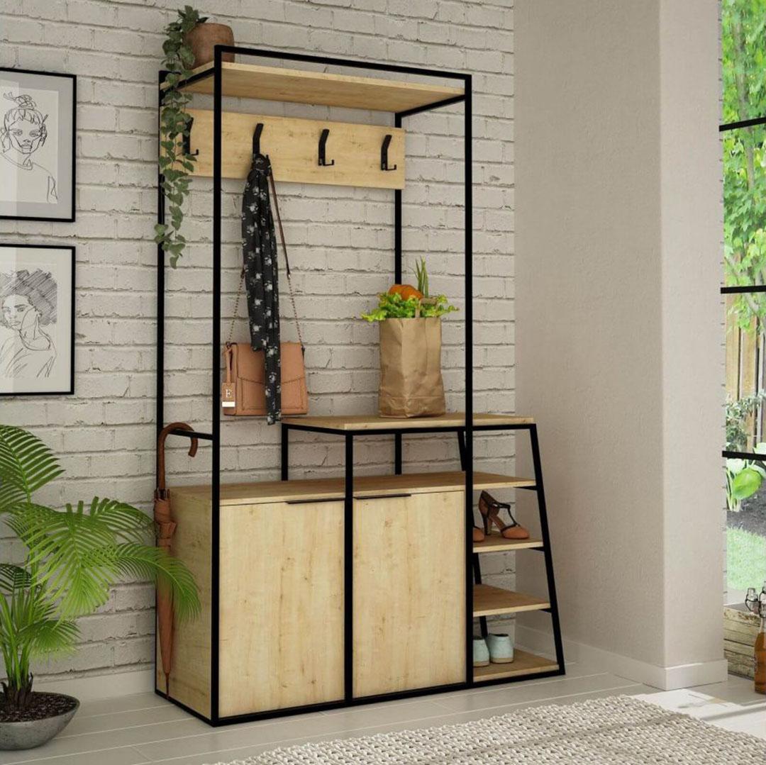 meuble entrée industrielle bois malin compact rangement penderie