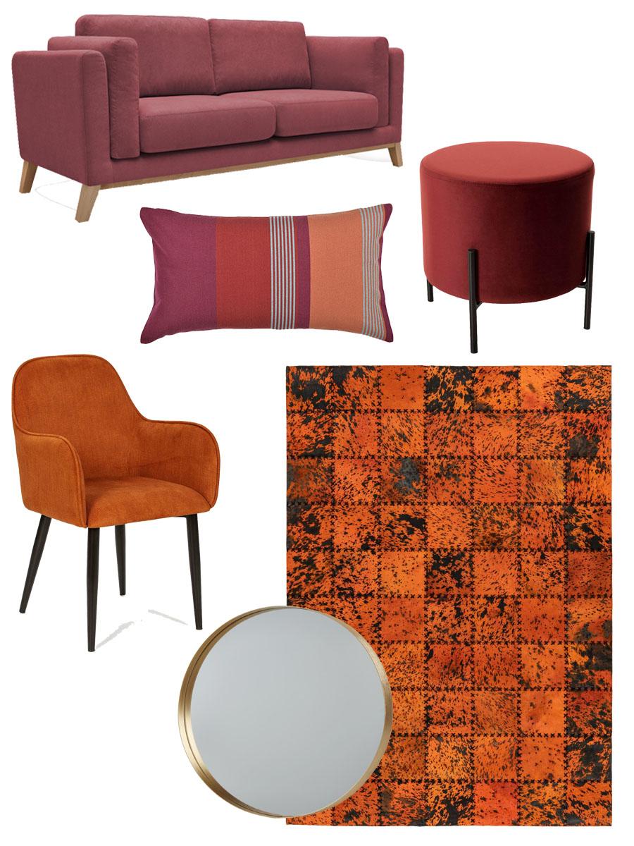 selection shopping déco automne maison salon camaïeu orange bordeaux rouge terracotta