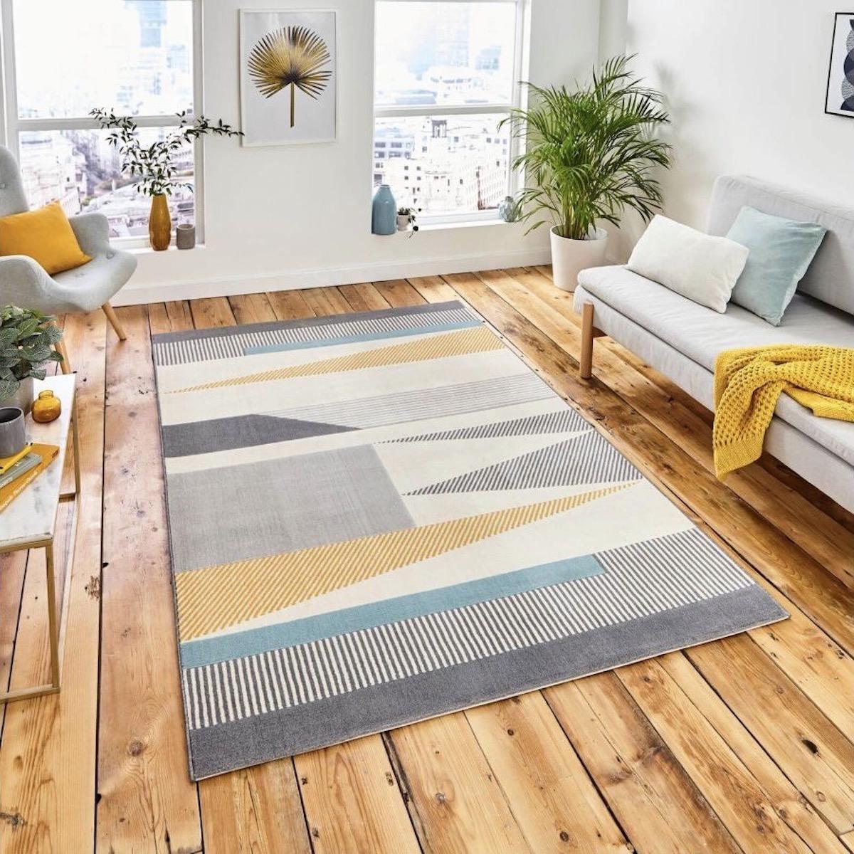 tapis salon taille forme rectangle triangle jaune gris blanc bleu géométrique scandinave
