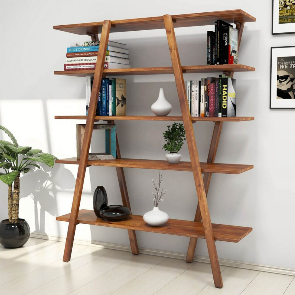 bibliothèque design noyer étagère livres - bobochic