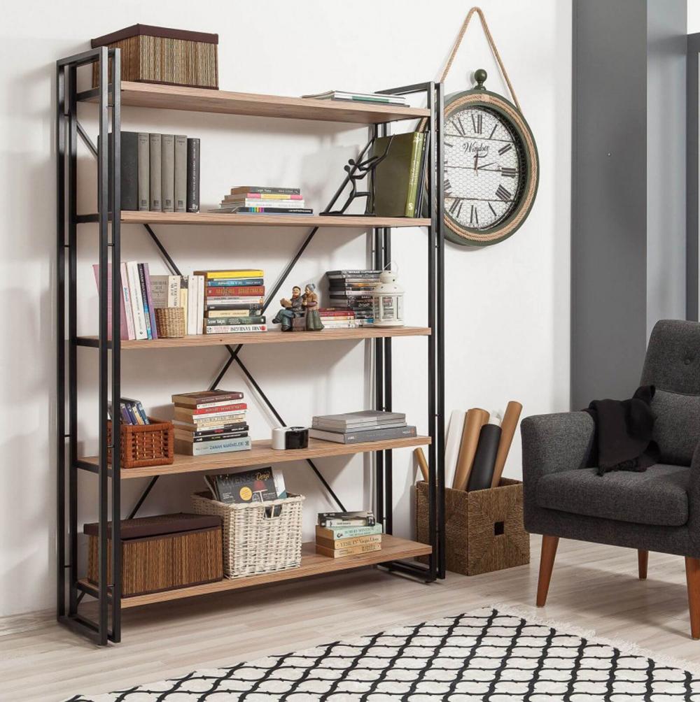 bibliothèque cosy et confortable étagère métal bois style industriel