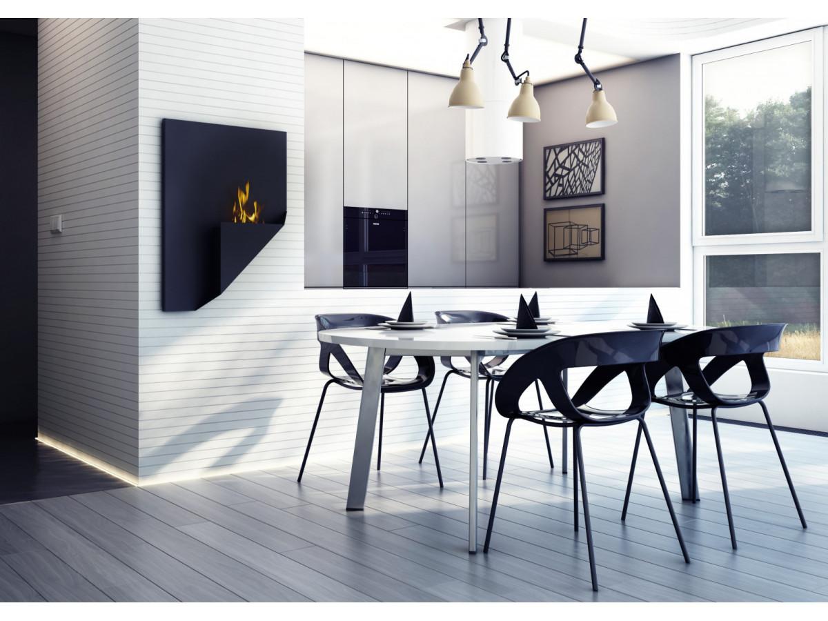 cheminée bioéthanol design bobochic salle à manger noir et blanc