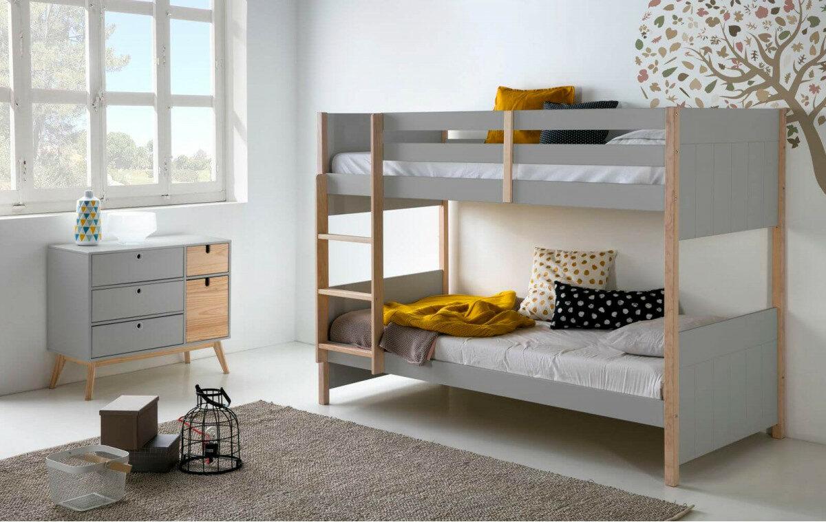 idée aménagement chambre de jumeaux lit superposé gris bois style scandinave