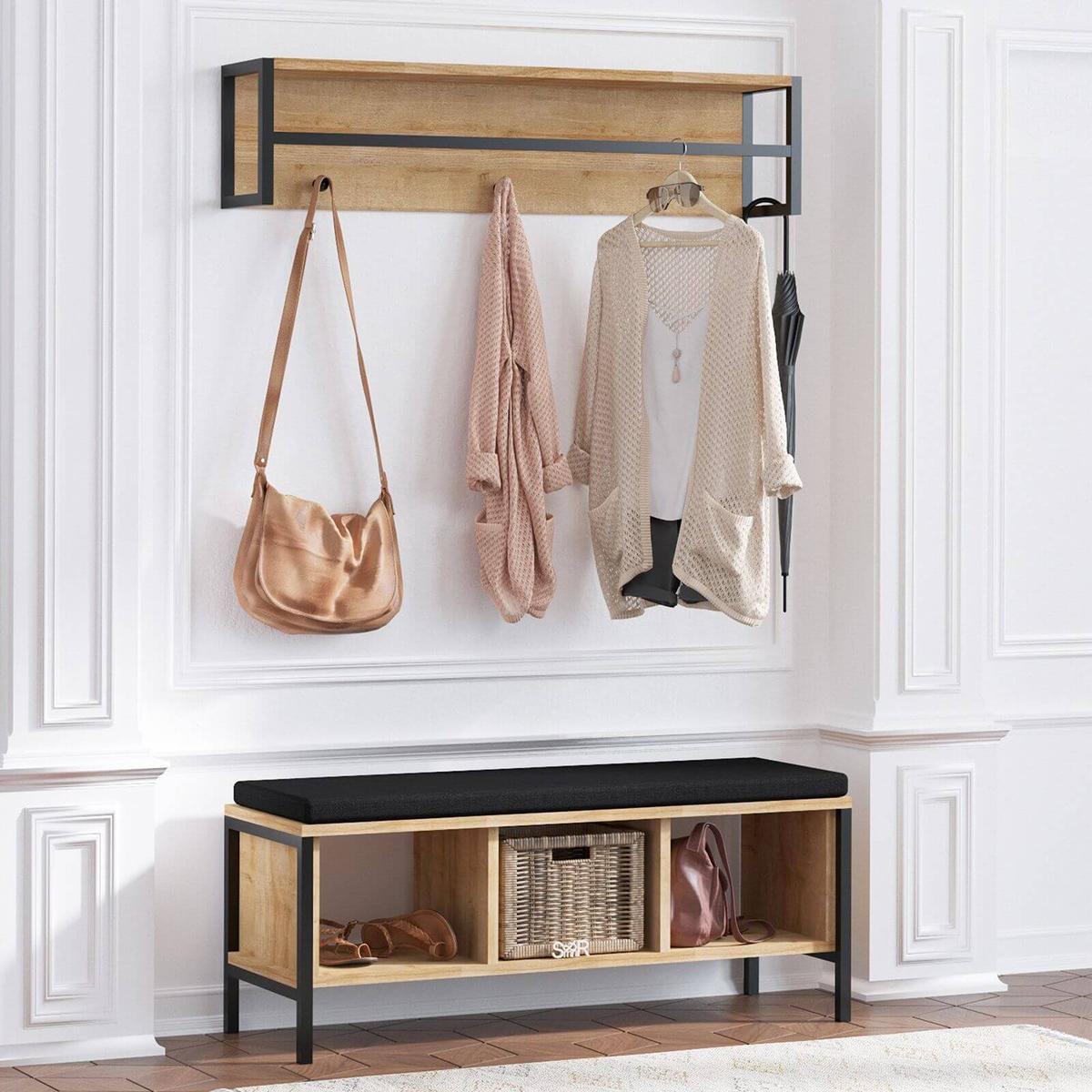 meuble bien agencer son entrée noir bois vestiaire porte-manteaux