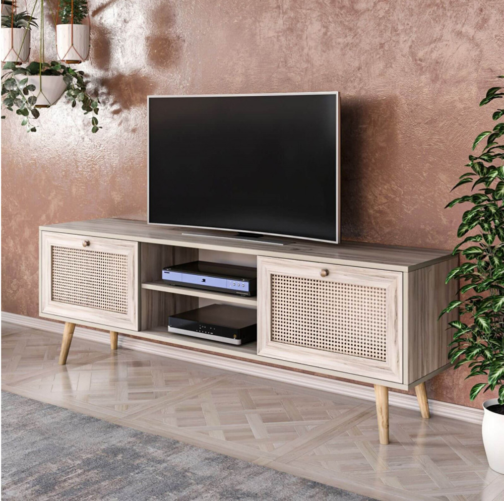 meuble télé cannage tendance bohème mur terracotta