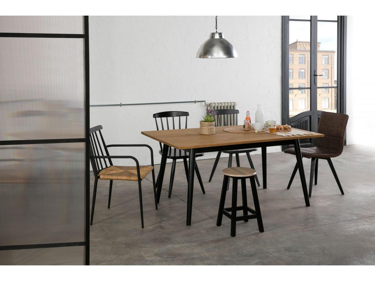 table industrielle katio design pieds métal noir bois