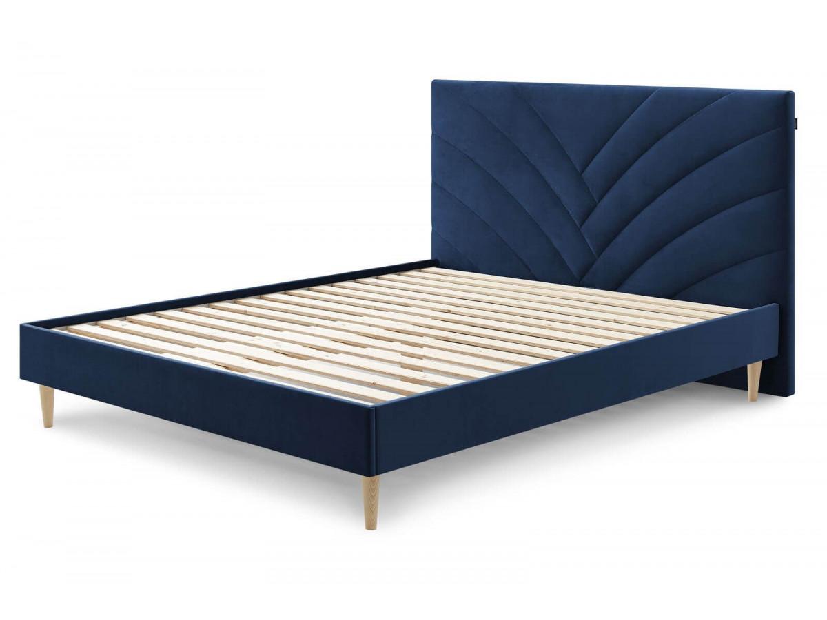 tête de lit velours bleu design confortable - Bobochic