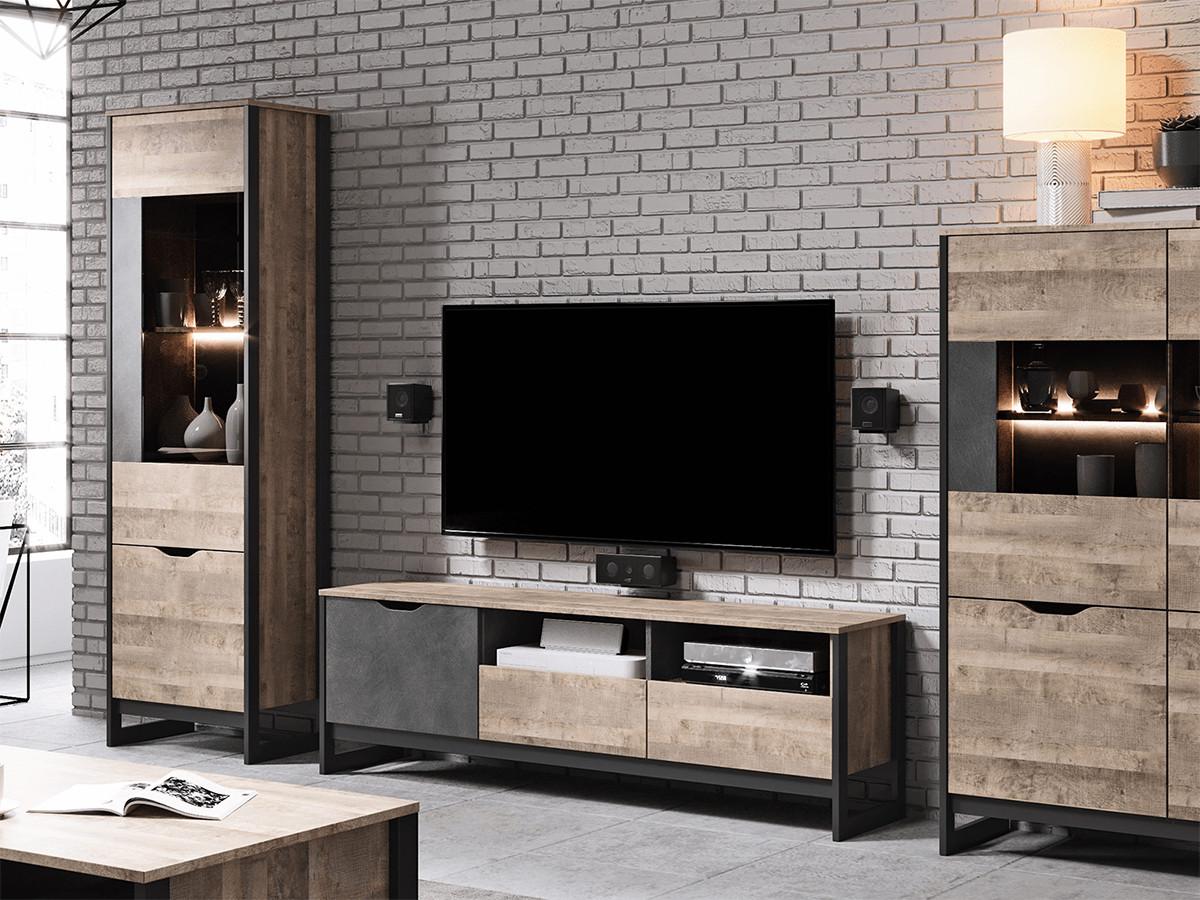 salon style industriel loft papier peint briquette blanche grise meuble bois acier