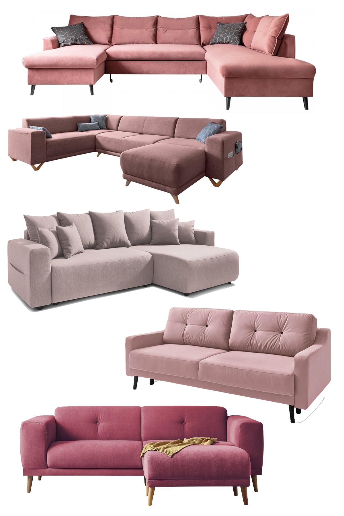 canapé colorama couleur terracotta rose poudré angle convertible design Bobochic