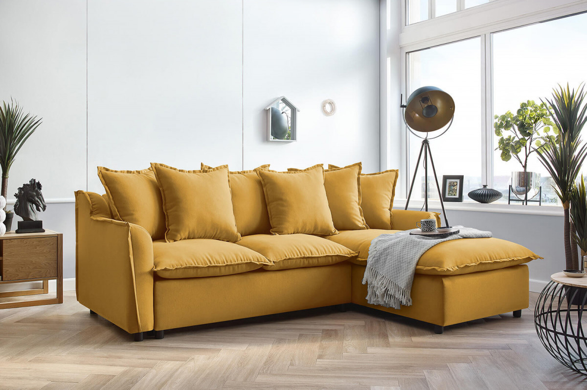 canapé d'angle convertible mona bobochic jaune moutarde colorama salon design