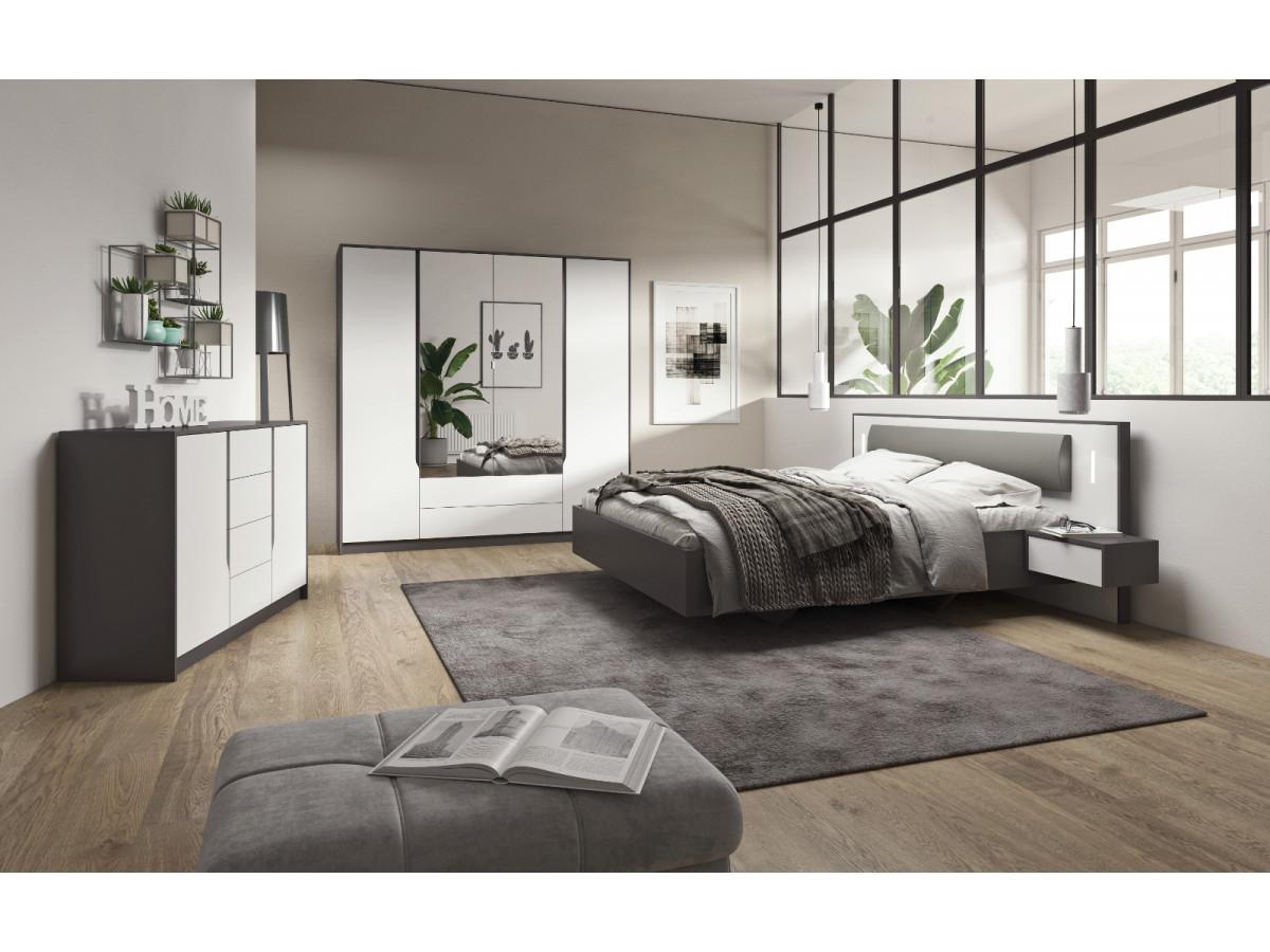 Chambre complète avec lit et structure de lit arcoma style contemporain
