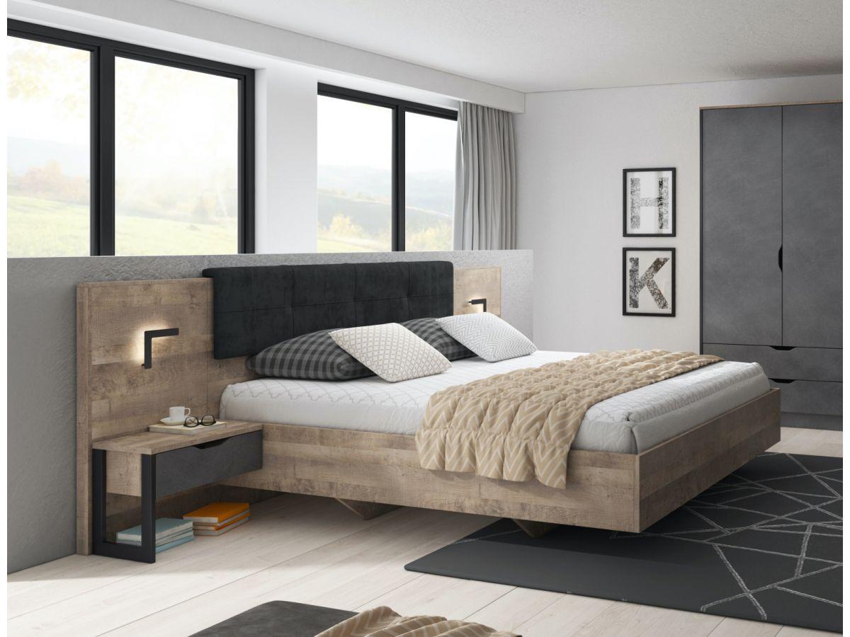 structure de lit ardensia chene et noir avec led inclus