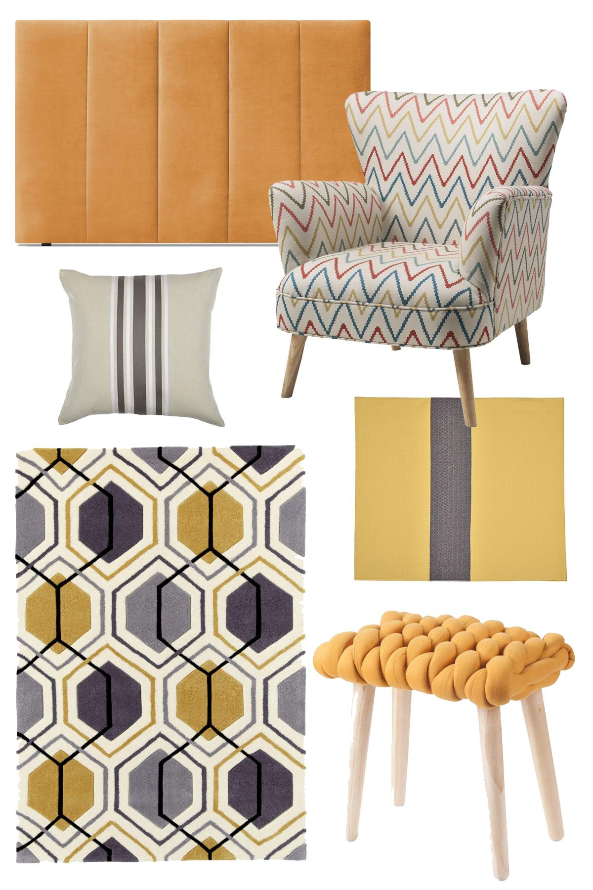 sélection déco mix and match motifs chambre bobochic design jaune gris