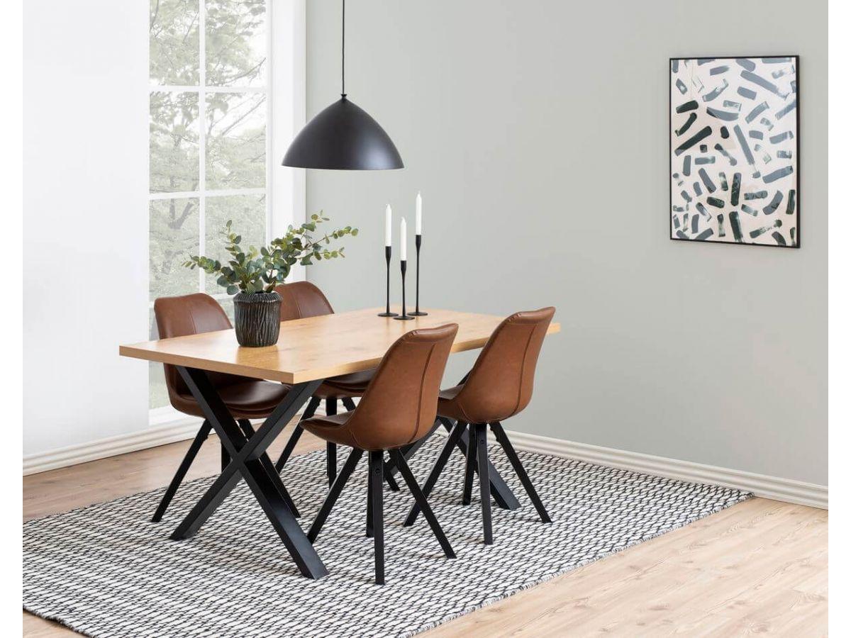 table à manger industrielle utopi bobochic avec chaises effet cuir