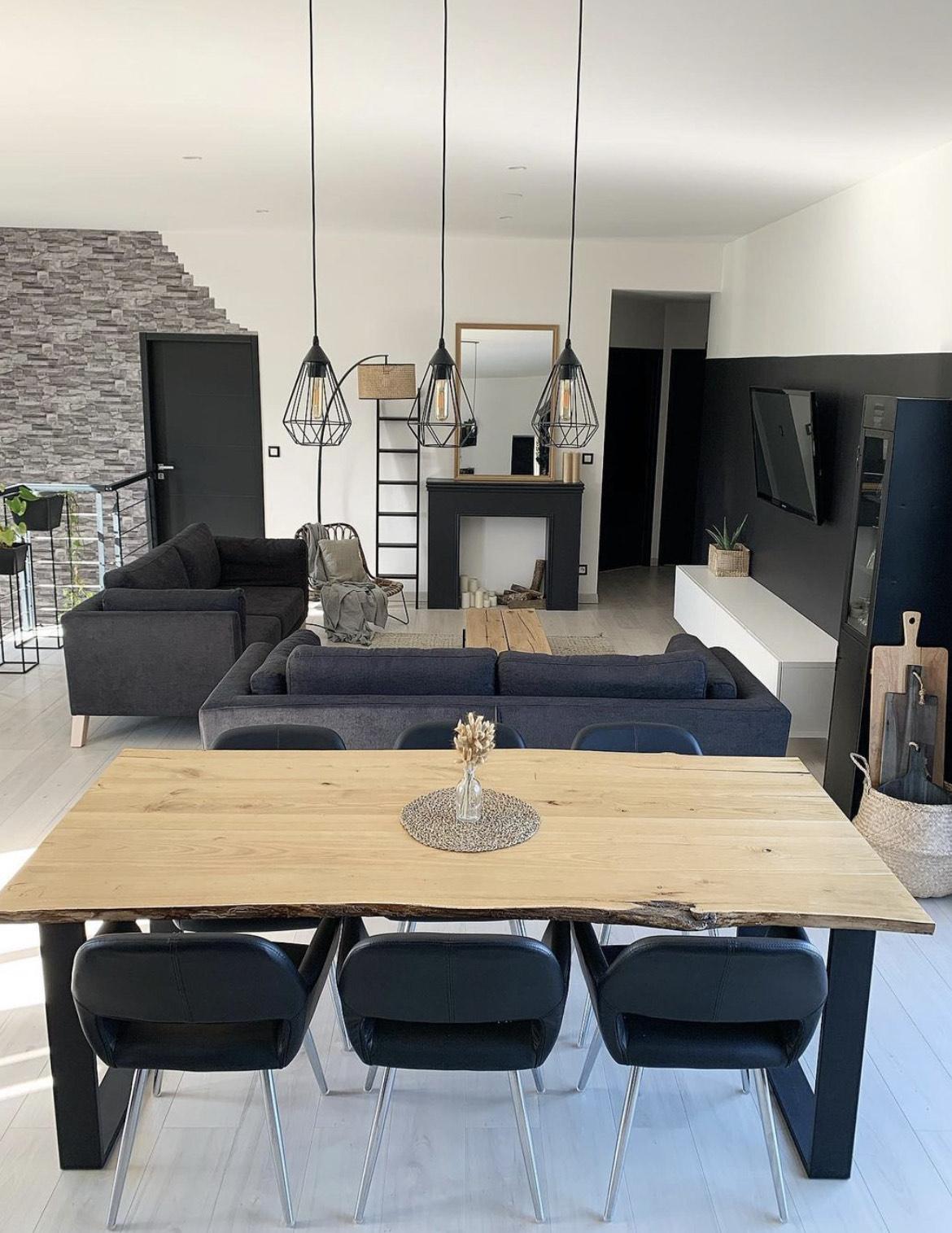 salon style industriel avec deux canapés seattle noir bobochic