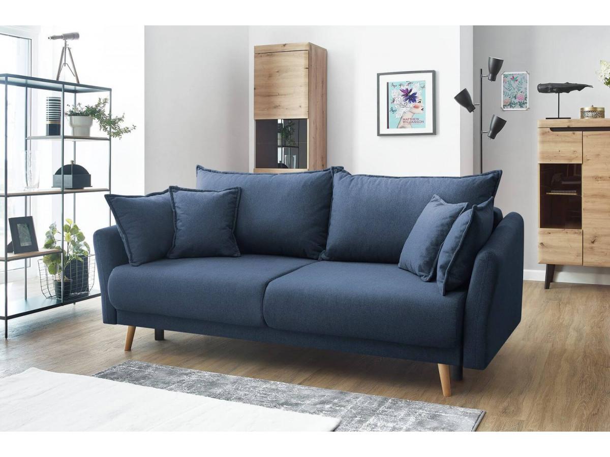 canape droit bobochic bleu marine avec pieds en bois pour un style industriel