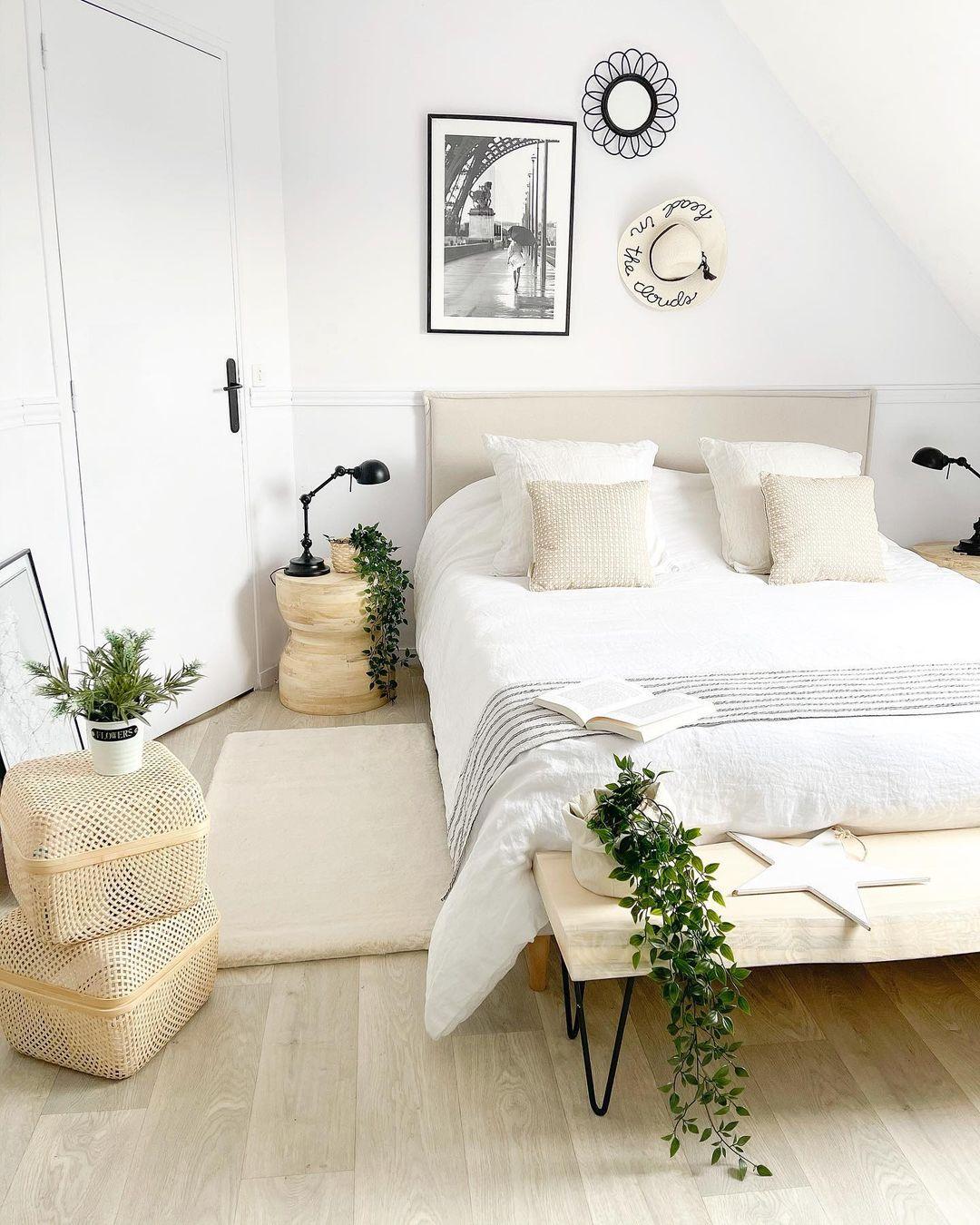 chambre style botanique blanche beige plante