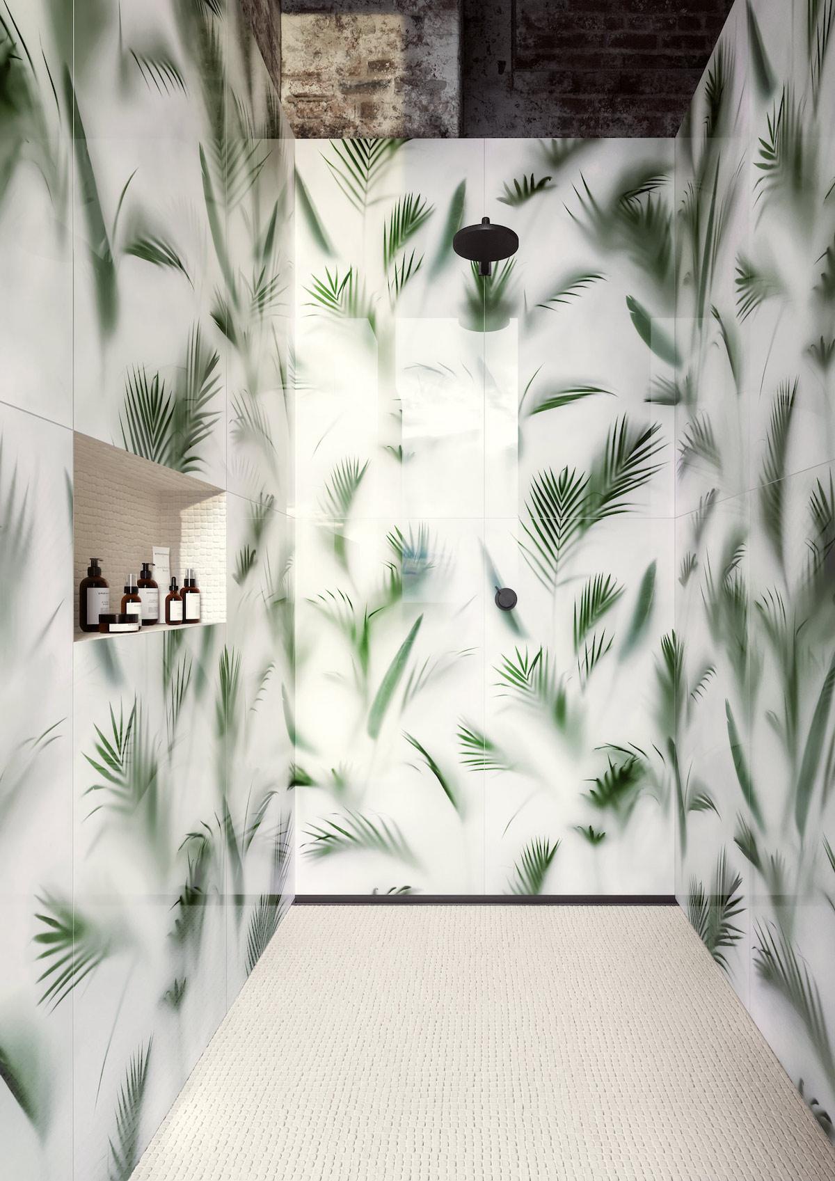 douche urban jungle carrelage trompe oeil feuille palmier