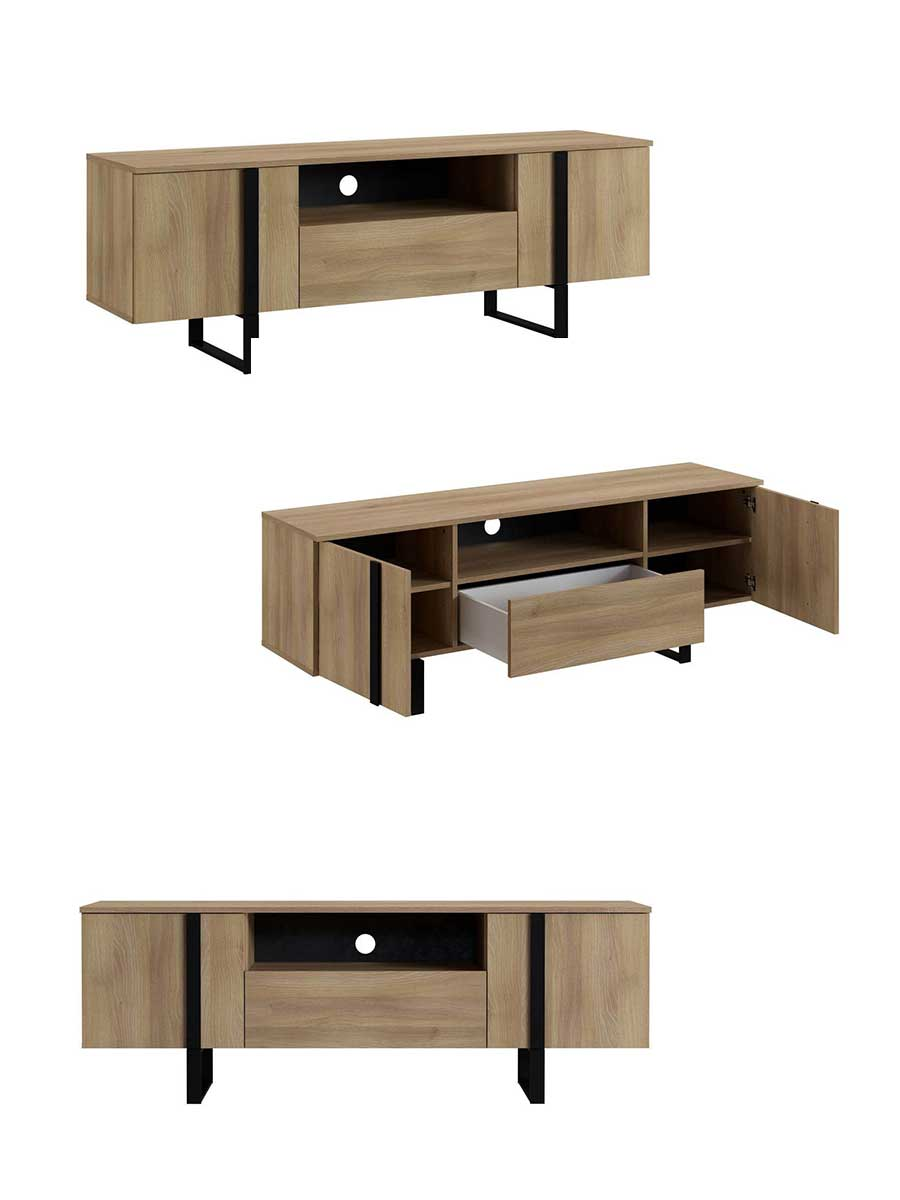 Nouveauté meuble TV Zambia en bois et métal
