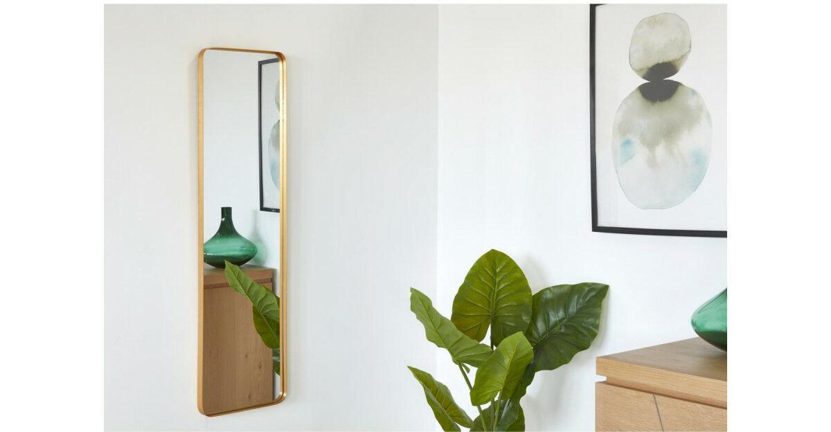 miroir rectangulaire suspendu doré laiton design