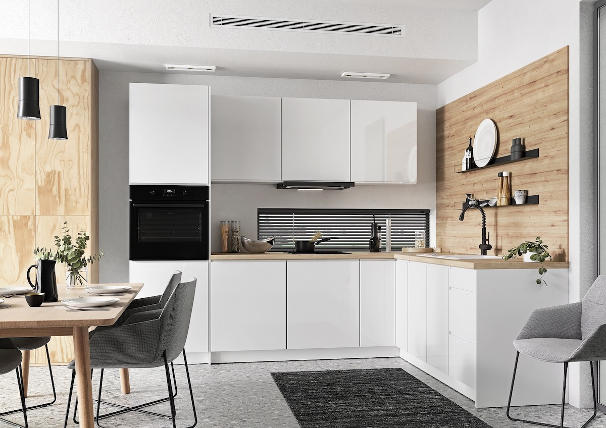 salle à manger scandinave meuble blanc armoire osb