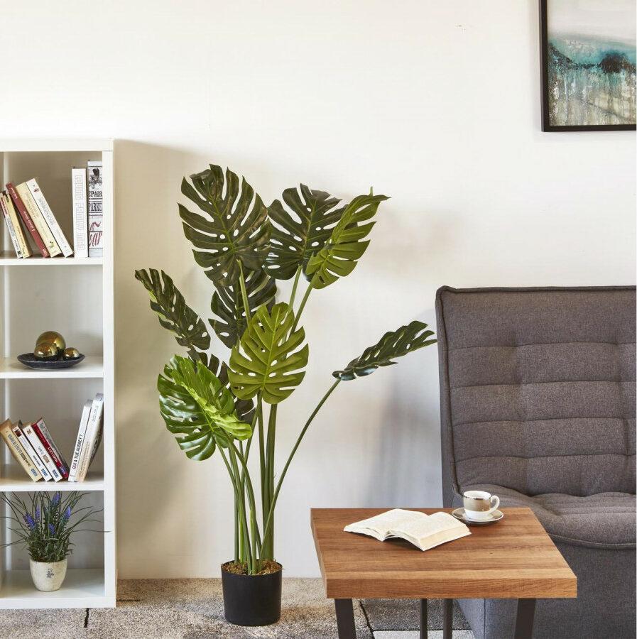 style botanique salon plante artificielle monstera