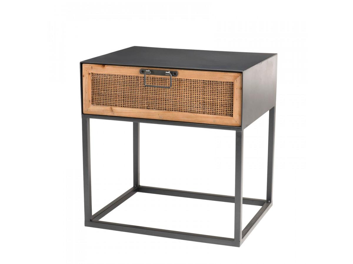 table nuit chevet meubles cannage chambre style industriel