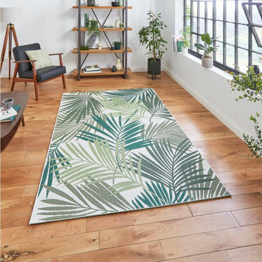 tapis feuille palmier nuance vert dégradé salon urban jungle