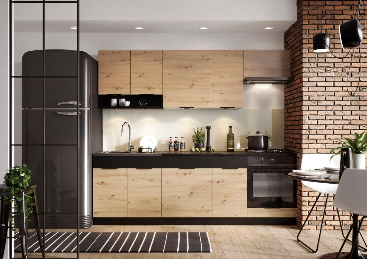 tendance cuisine 2021 loft bois noir frigo américain