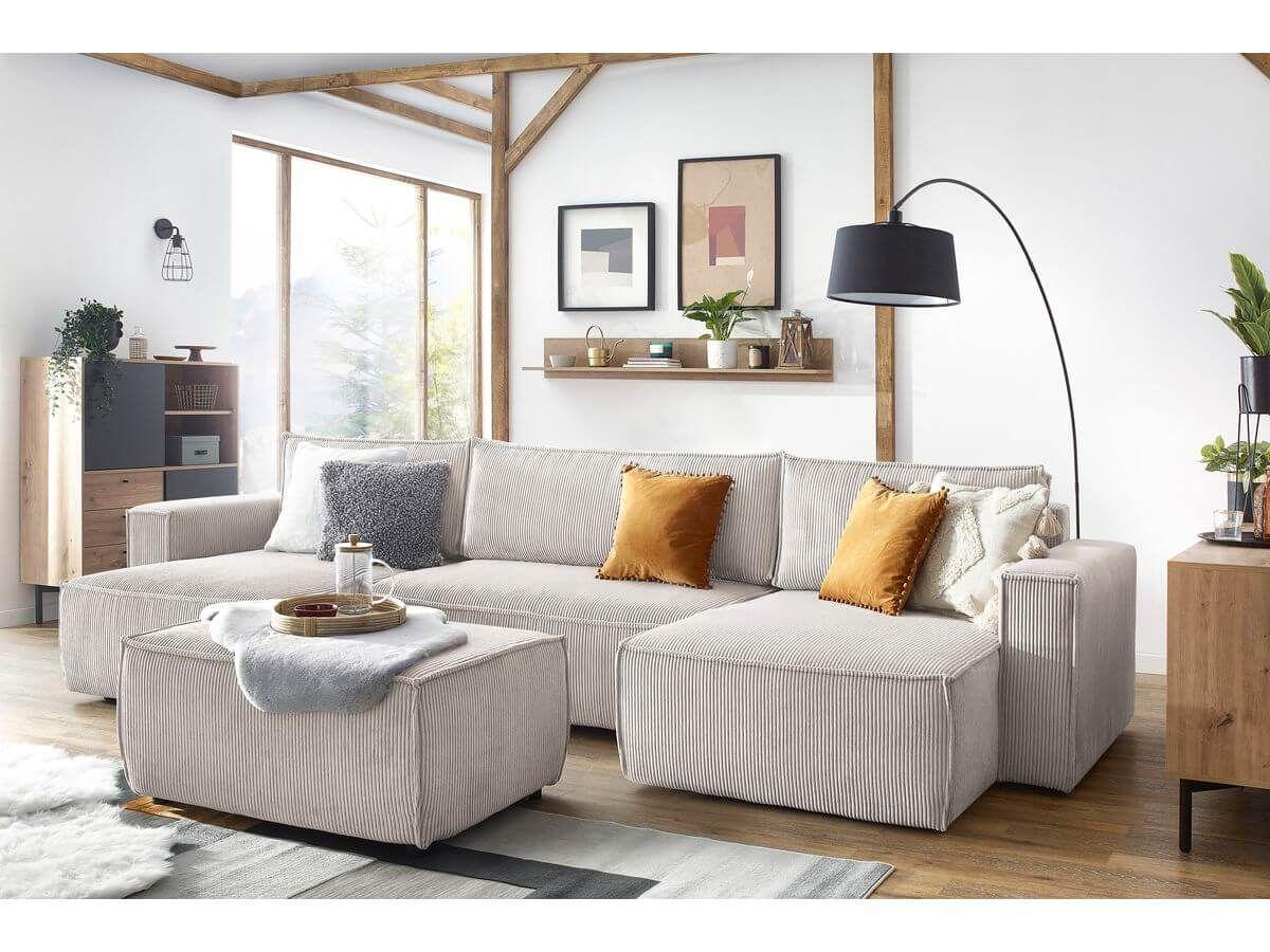 Tendances déco 2021 le canapé panoramiuqe nihad beige en velours côtelé