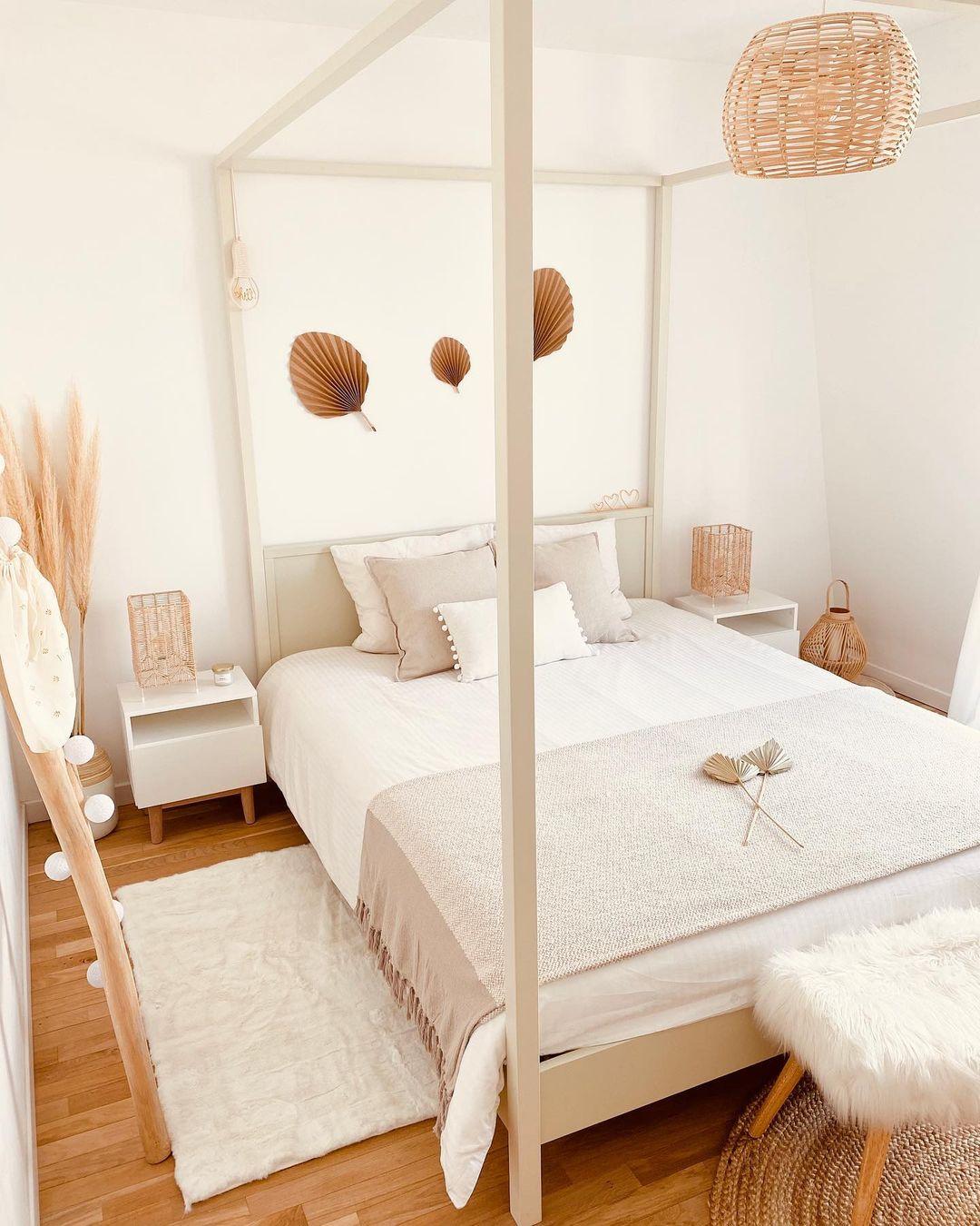 chambre bohème cosy beige blanche nature rotin pampa