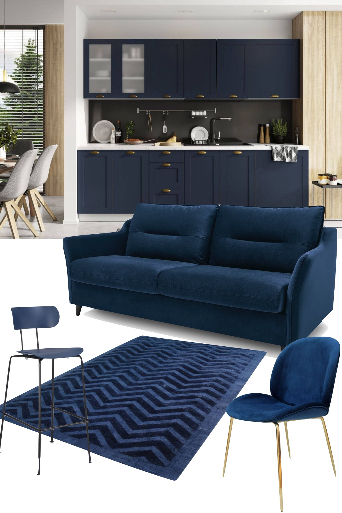couleurs année 2021 salon bleu foncé velours