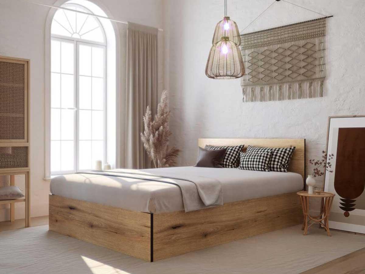 Déco tendance 2021 lit et structure de lit en bois avec une décoration au ton chaud