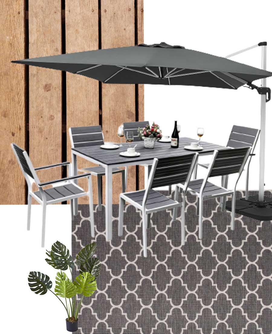 aménager sa terrasse avec une table de jardin en metal et un parasol