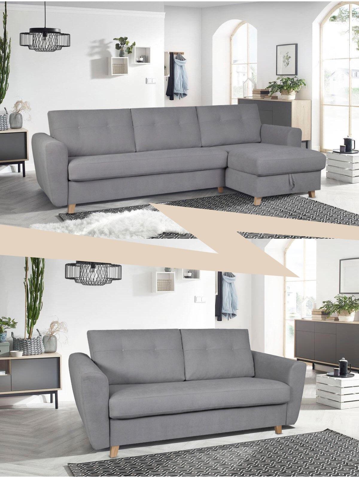 comparatif canapé angle vs canapé droit salon gris