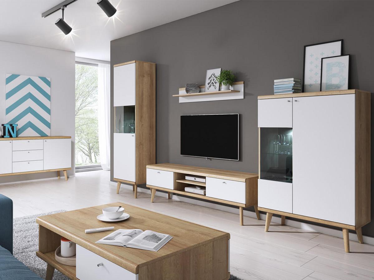 meuble tv blanc bois suspendu Bobochic