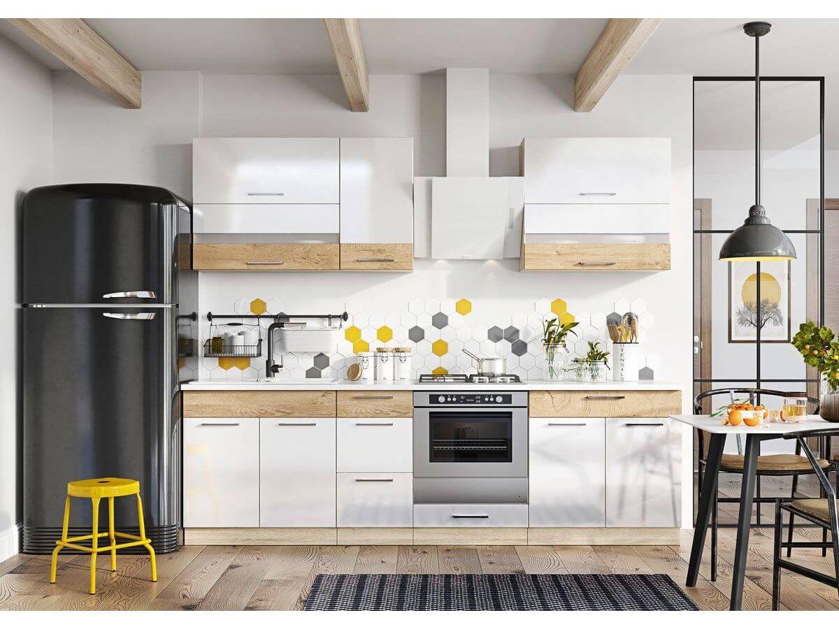 cuisine bicolore blanche bois frigo noir mat design tabouret jaune
