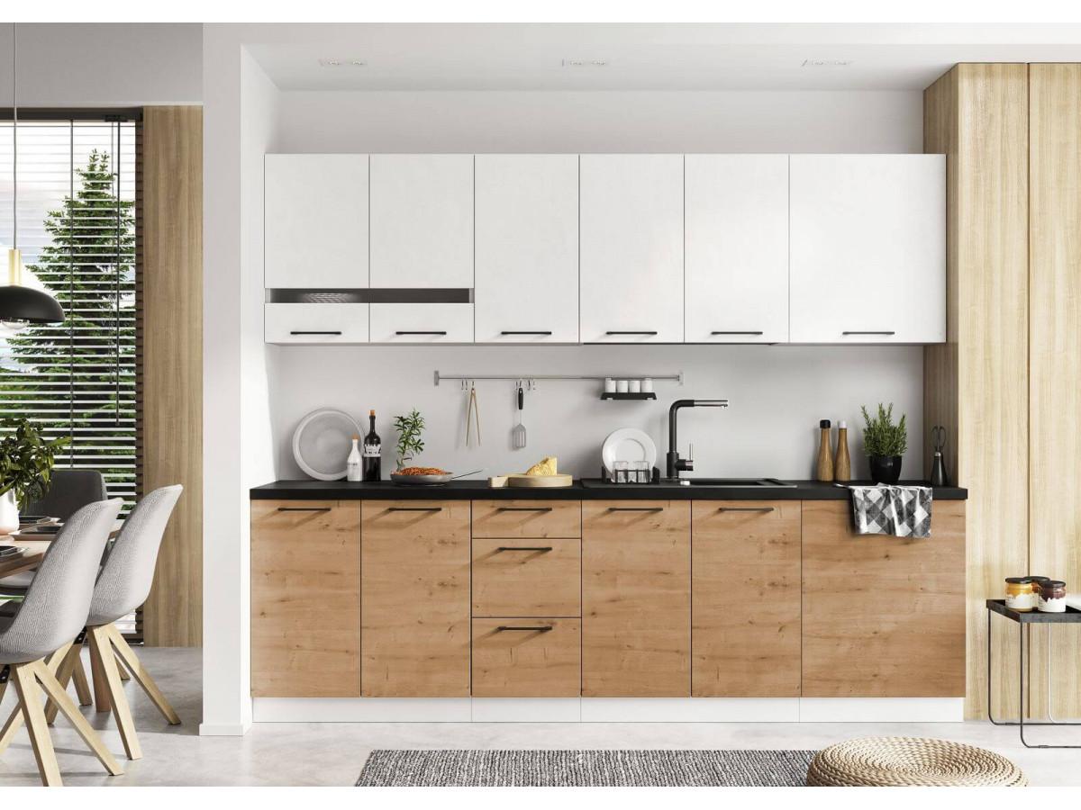 cuisine blanche et bois style scandinave minimaliste ouverte